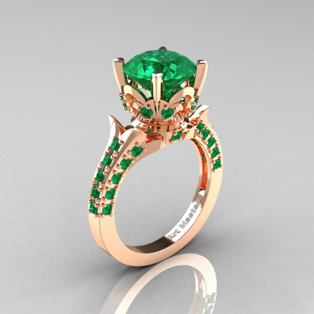 Classic French 14K Rose Gold 3.0 Carat Emerald Solitaire Wedding Ring R401-14KRGEM