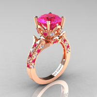 Classic French 14K Rose Gold 3.0 Carat Pink Sapphire Diamond Solitaire Wedding Ring R401-14KRGDPSS Perspective