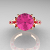 Classic French 14K Rose Gold 3.0 Carat Pink Sapphire Diamond Solitaire Wedding Ring R401-14KRGDPSS