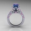 Classic French 14K White Gold 3.0 Carat Alexandrite Light Pink Sapphire Diamond Solitaire Wedding Ring R401-14KWGDLPSSAL