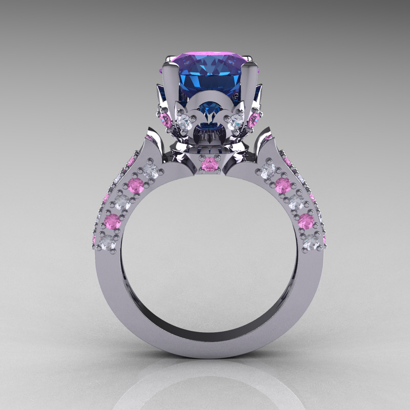 alexandrite diamond cluster mociun ring product old cut and sapphire mine