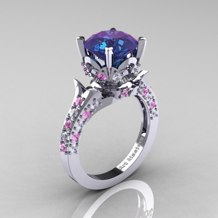 Classic French 14K White Gold 3.0 Carat Alexandrite Light Pink Sapphire Diamond Solitaire Wedding Ring R401-14KWGDLPSSAL