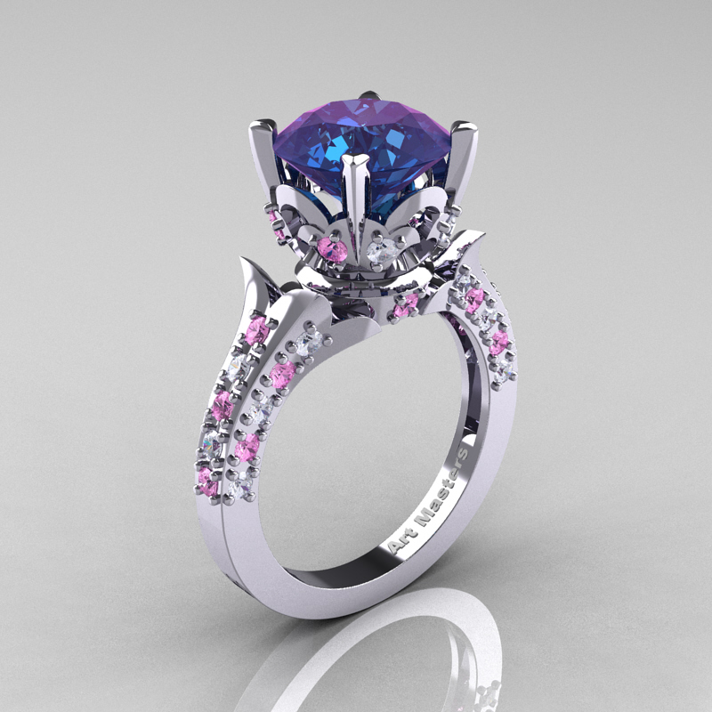 Classic French 14K White Gold 3 0 Carat Alexandrite Light Pink Sapphire Diamo
