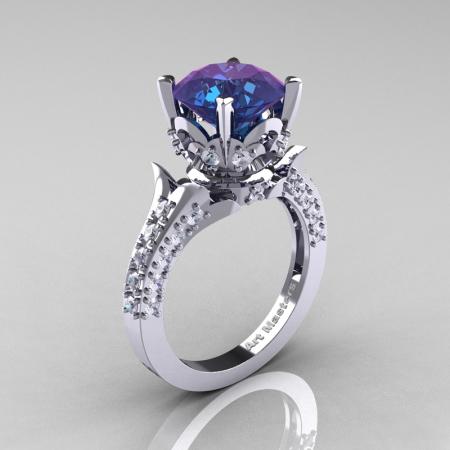 Classic French 14K White Gold 3.0 Carat Chrysoberyl Alexandrite Diamond Solitaire Wedding Ring R401-14KWGDAL