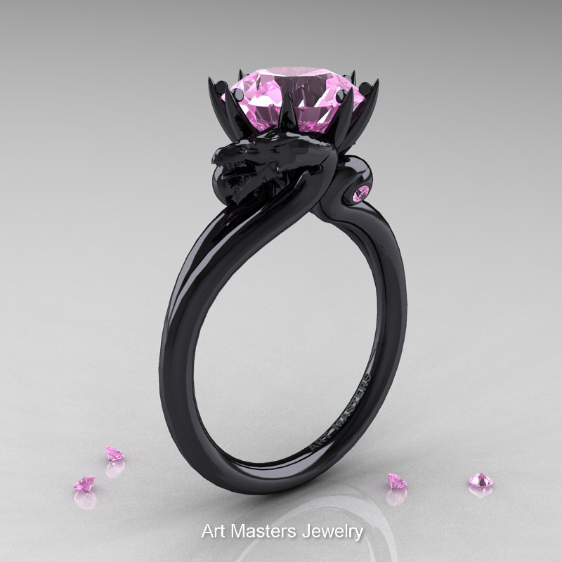Art Masters 14K Black Gold 30 Ct Light Pink Sapphire Dragon