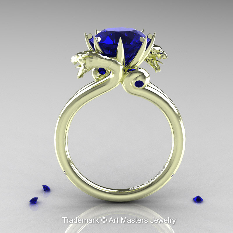Art Masters 18k Green Gold 3 0 Ct Blue Sapphire Dragon