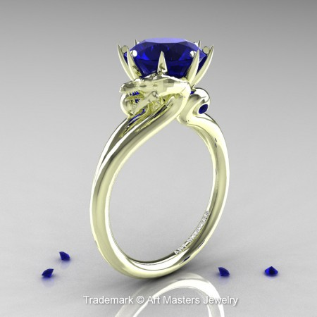 Scandinavian-Dragon-14K-Green-Gold-3-Carat-Blue-Sapphire-Engagement-Ring-R601-14KGRGBS-P