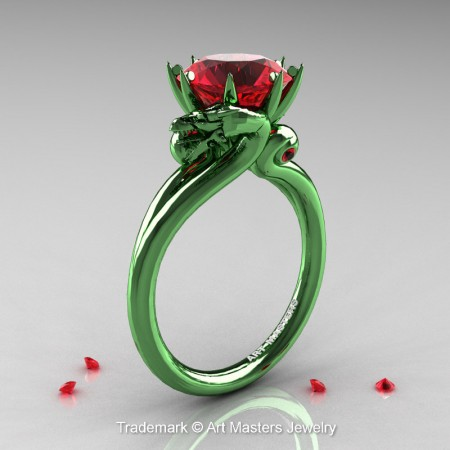 Scandinavian-Dragon-14K-Green-Gold-3-Carat-Ruby-Engagement-Ring-R601-14KGGR-P