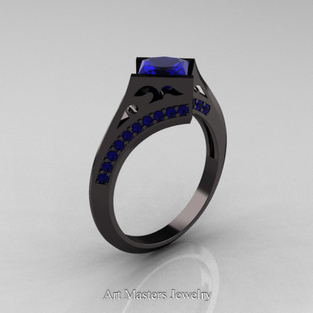 Exclusive French 14K Black Gold 1.5 CT Princess Blue Sapphire Engagement Ring R176-14KBGBS