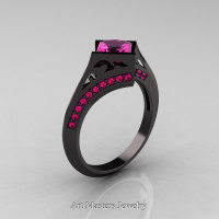 Exclusive French 14K Black Gold 1.5 CT Princess Pink Sapphire Engagement Ring R176-14KBGPS Perspective