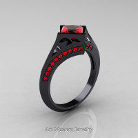 Exclusive French 14K Black Gold 1.5 CT Princess Rubies Engagement Ring R176-14KBGR Perspective