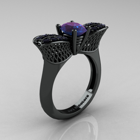 Nature Inspired 14K Black Gold 1.0 Ct Oval Chrysoberyl Alexandrite Black Diamond Bee Wedding Ring R531-14KBGBDAL