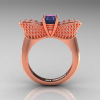 Nature Inspired 14K Rose Gold 1.0 Ct Oval Chrysoberyl Alexandrite Diamond Bee Wedding Ring R531-14KRGDAL