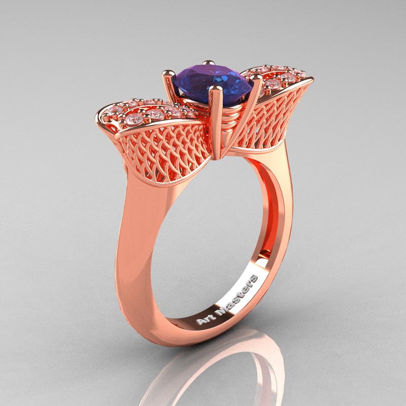 nature inspired 14k rose gold 10 ct oval chrysoberyl alexandrite diamond bee wedding ring r531 - Alexandrite Wedding Ring