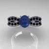 Nature Inspired 14K White Gold 1.0 Ct Oval Chrysoberyl Alexandrite Black Diamond Bee Wedding Ring R531-14KWGBDAL
