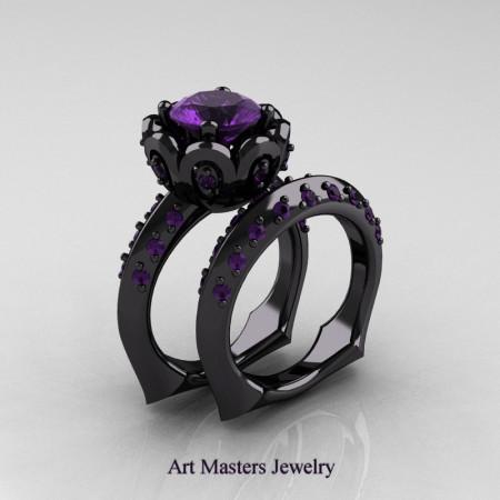 Galatea Classic 14K Black Gold 3.0 Ct Lavender Amethyst Wedding Ring Wedding Band Bridal Set AR114S-14KBGAM
