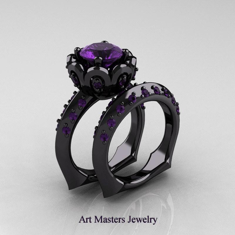 galatea classic 14k black gold 30 ct lavender amethyst wedding ring wedding band bridal set ar114s - Black Gold Wedding Ring Sets