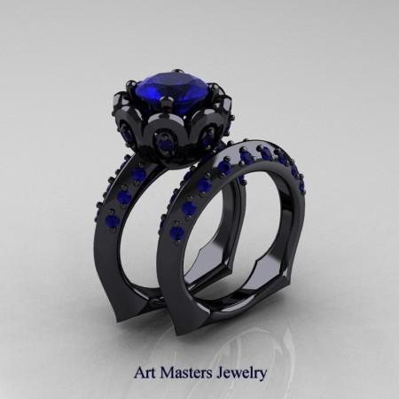 Galatea Classic 14K Black Gold 3.0 Ct Blue Sapphire Wedding Ring Wedding Band Bridal Set AR114S-14KBGBS