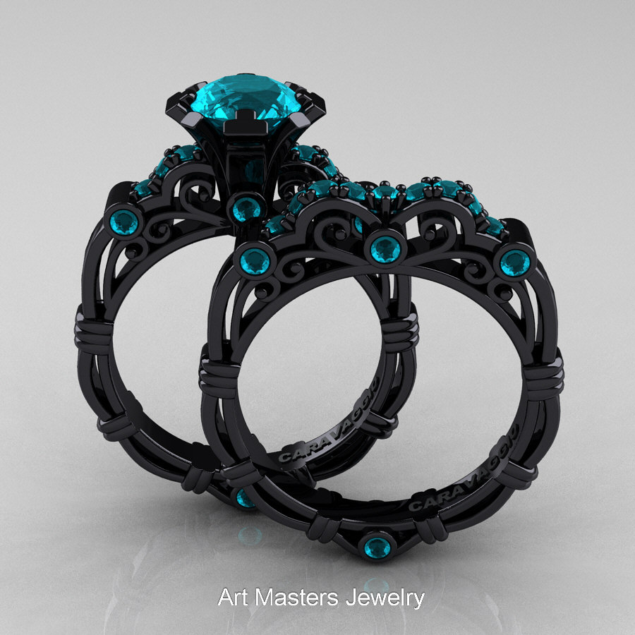 Art Masters Caravaggio 14K Black Gold 1.0 Ct Blue Zircon Engagement Ring  Wedding Band Set R623S