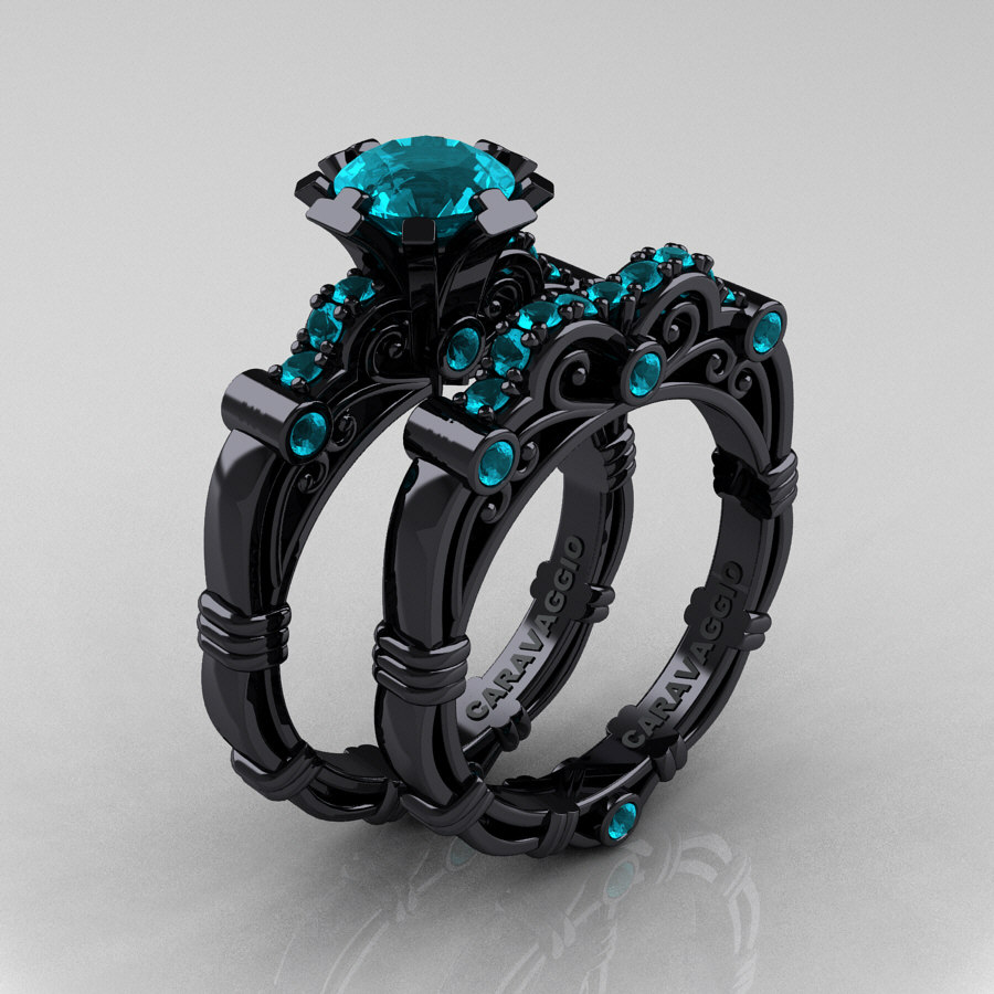 art masters caravaggio 14k black gold 10 ct blue zircon engagement ring wedding band set r623s - Black Gold Wedding Ring Sets