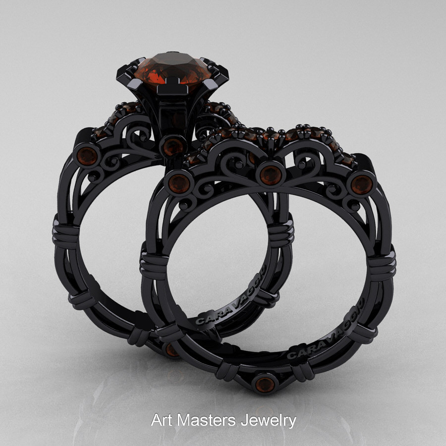 art masters caravaggio 14k black gold 10 ct brown diamond engagement ring wedding band set r623s - Black Wedding Ring Sets