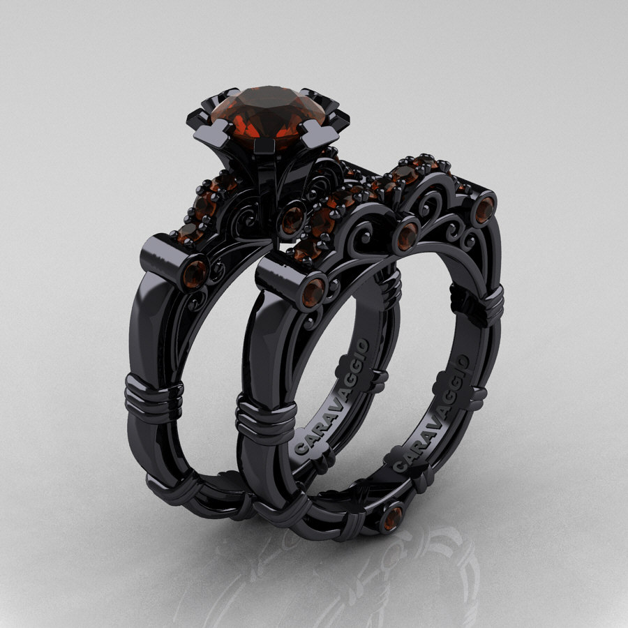black gold wedding ring masters caravaggio 14k black gold 1 0 ct brown 1851