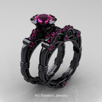 Art Masters Caravaggio 14K Black Gold 1.0 Ct Pink Sapphire Engagement Ring Wedding Band Set R623S-14KBGPS