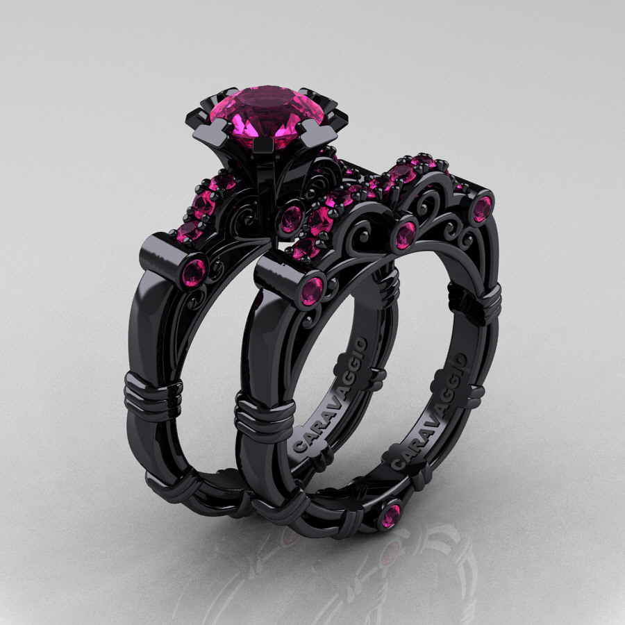 Art Masters Caravaggio 14K Black Gold 10 Ct Pink Sapphire