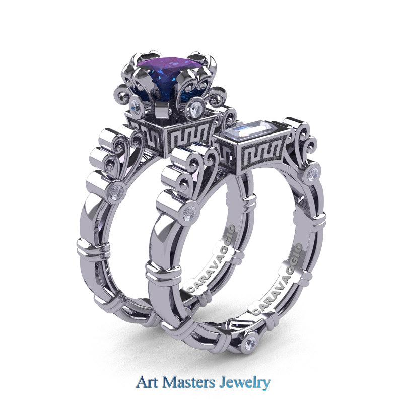 Art Masters Caravaggio 14K White Gold 15 Ct Princess Alexandrite Sapphire Diamond Engagement Ring Wedding