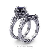 Art Masters Caravaggio 14K White Gold 1.5 Ct Princess Black and White Diamond Engagement Ring Wedding Band Set R627S-14KWGDBD