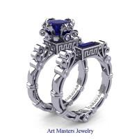 Art Masters Caravaggio 14K White Gold 1.5 Ct Princess Blue Sapphire Diamond Engagement Ring Wedding Band Set R627S-14KWGDBS