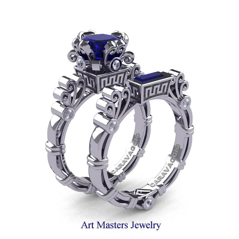 milgrain set engagement sterling collections on big white ring products wedding created special sale sapphire silver