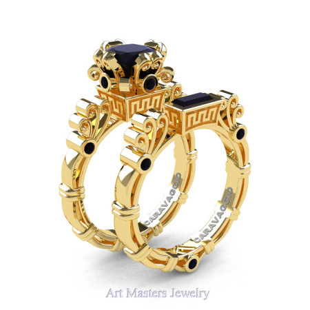 Art Masters Caravaggio 14K Yellow Gold 1.5 Ct Princess Black Diamond Engagement Ring Wedding Band Set R627S-14KYGBD