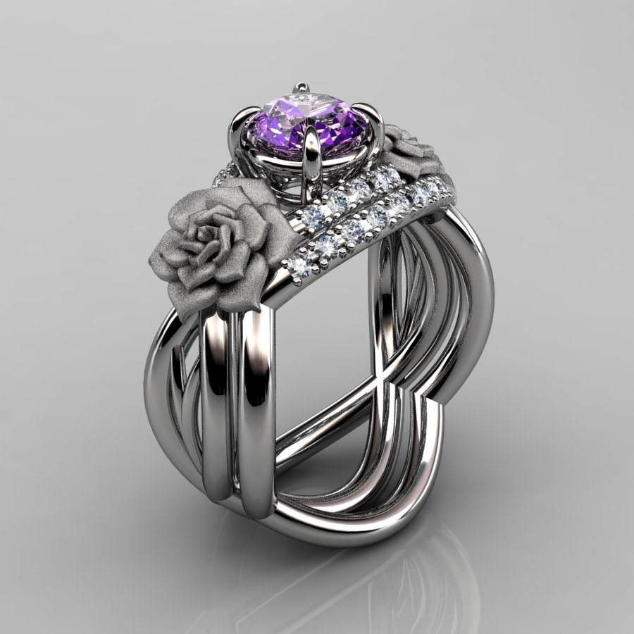 nature inspired 14k white gold 10 ct amethyst diamond rose vine engagement ring wedding band set - Amethyst Wedding Ring