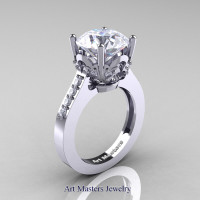 Classic 14K White Gold 3.0 Carat White Sapphire Diamond Solitaire Wedding Ring R301-14KWGDWS