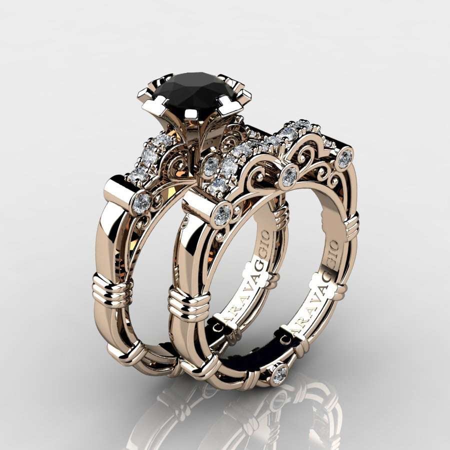 unique wh gold rings set and diamond black white ring engagement bridal
