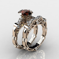 Art Masters Caravaggio 14K Rose Gold 1.0 Ct Brown and White Diamond Engagement Ring Wedding Band Set R623S-14KRGDBRD