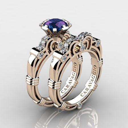 Art Masters Caravaggio 14K Rose Gold 1.0 Ct Alexandrite Diamond Engagement Ring Wedding Band Set R623S-14KRGDAL