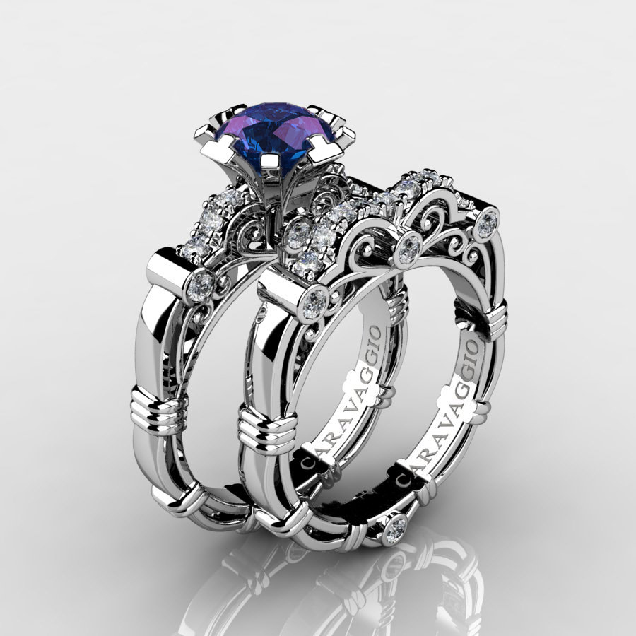 art masters caravaggio 14k white gold 10 ct alexandrite diamond engagement ring wedding band set r623s - Alexandrite Wedding Ring