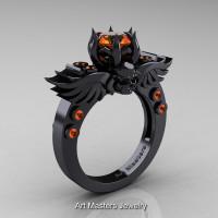 Art Masters Classic Winged Skull 14K Black Gold 1.0 Ct Orange Sapphire Solitaire Engagement Ring R613-14KBGOS