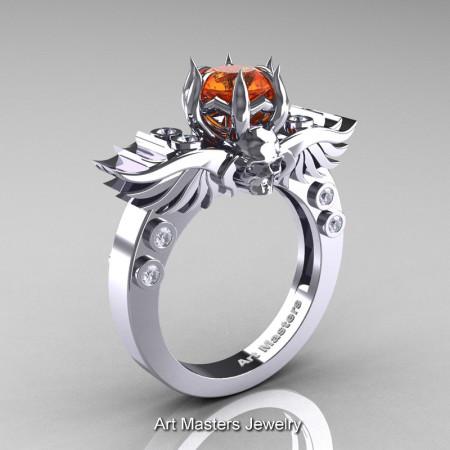 Art Masters Classic Winged Skull 14K White Gold 1.0 Ct Orange Sapphire Diamond Solitaire Engagement Ring R613-14KWGDOS