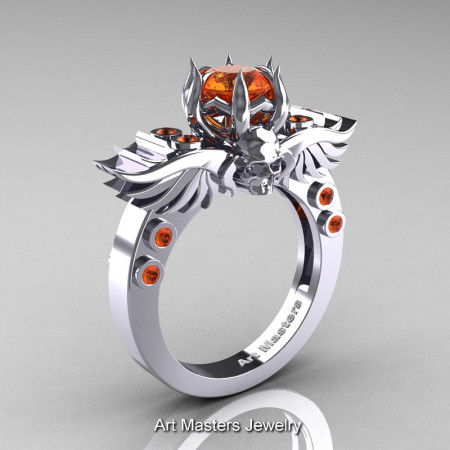Art Masters Classic Winged Skull 14K White Gold 1.0 Ct Orange Sapphire Solitaire Engagement Ring R613-14KWGOS