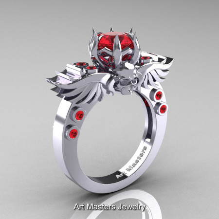 Art Masters Classic Winged Skull 14K White Gold 1.0 Ct Red Sapphire Solitaire Engagement Ring R613-14KWGRS