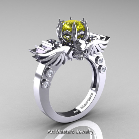 Art Masters Classic Winged Skull 14K White Gold 1.0 Ct Yellow Sapphire Diamond Solitaire Engagement Ring R613-14KWGDYS