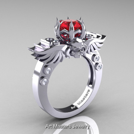 Art Masters Classic Winged Skull 14K White Gold 1.0 Ct Red Sapphire Diamond Solitaire Engagement Ring R613-14KWGDRS
