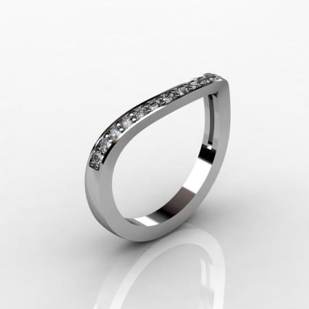 Italian 950 Platinum Diamond Flush Matching Wedding Band R280B-PLATD