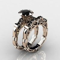 Art Masters Caravaggio 14K Rose Gold 1.0 Ct Black Diamond Engagement Ring Wedding Band Set R623S-14KRGBD