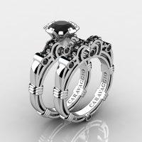 Art Masters Caravaggio 14K White Gold 1.0 Ct Black Diamond Engagement Ring Wedding Band Set R623S-14KWGBD
