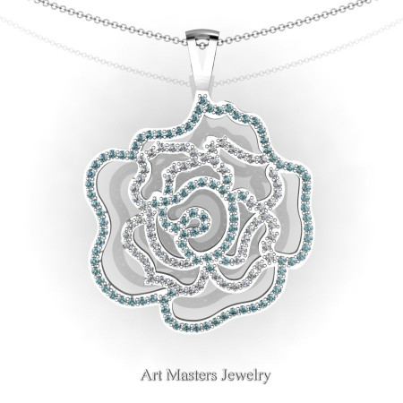 Classic 14K White Gold Aquamarine Diamond Rose Promise Pendant and Necklace Chain P101M-14KWGDAQ
