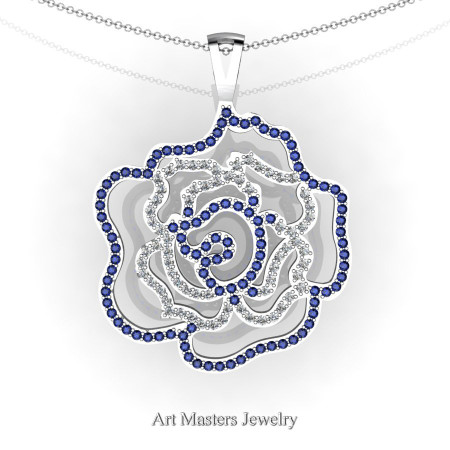 Classic 14K White Gold Blue Sapphire Diamond Rose Promise Pendant and Necklace Chain P101M-14KWGDBS